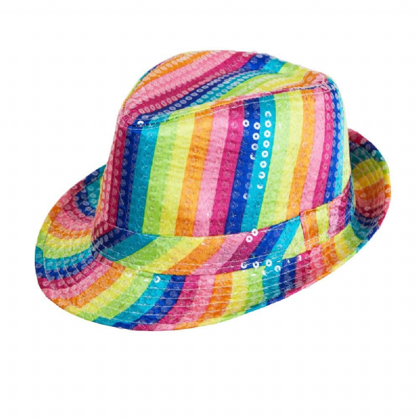 Sequins Fedora - Rainbow